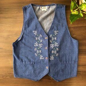 Vintage Denim Floral Vest